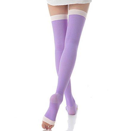 LEORX Damen Oberschenkel hohe Kompression Socken Open Toe Socken Slimming Kompressionsstrümpfe (lila)